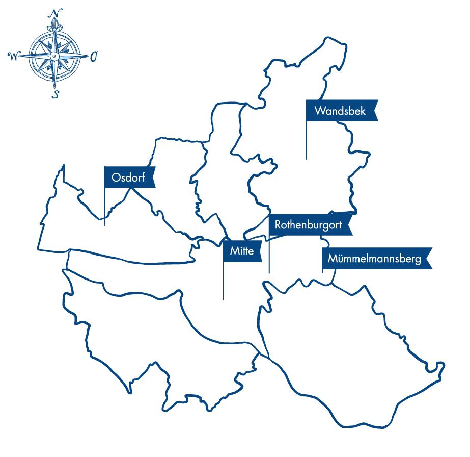 gezeichnete Karte von Hamburg mit allen Standorten der Therapielotsen