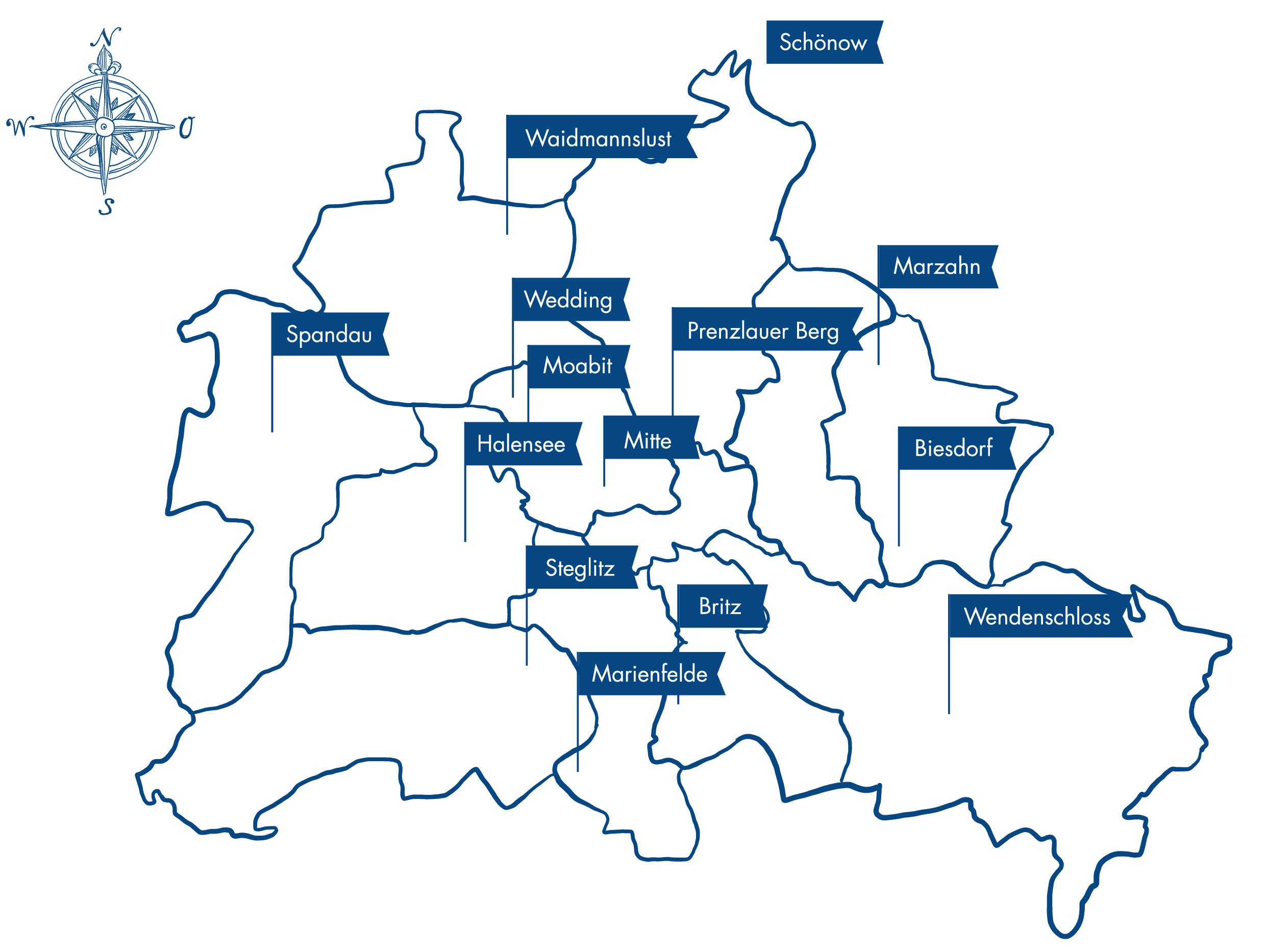 Einsatzorte der Therapielotsen in Berlin