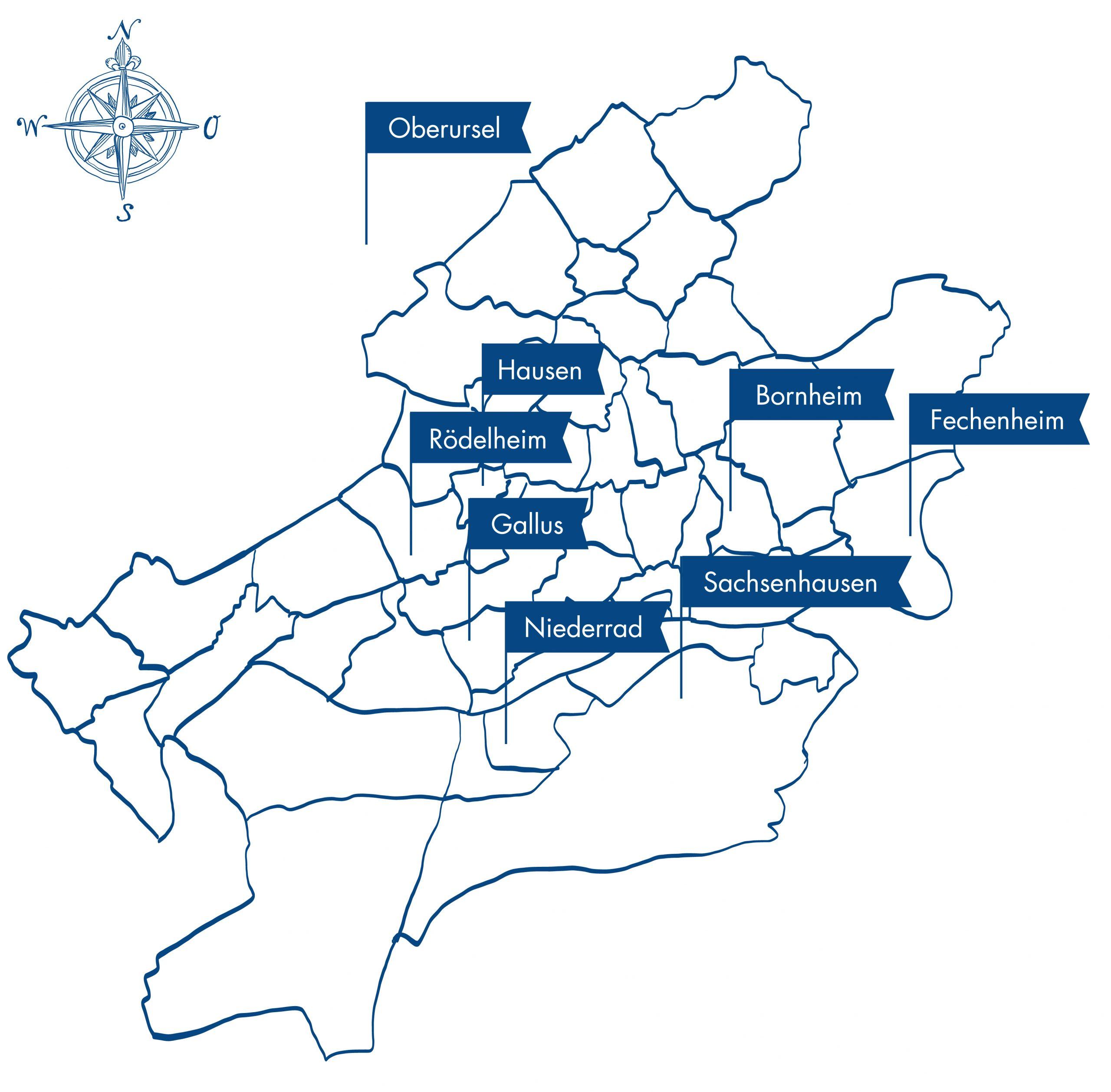 gezeichnete Karte mit allen Standorten der Therapielotsen in Frankfurt a.M.