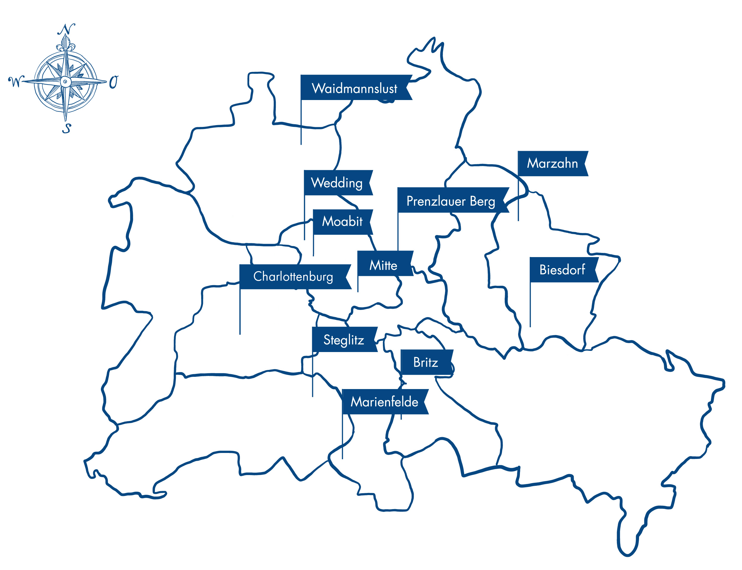 gezeichnete Karte von Berlin mit den Therapielotsenstationen