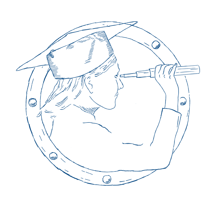 Zeichnung Bullauge mit Lotse und Fernglas
