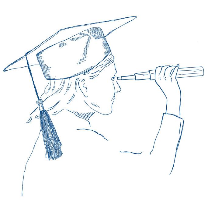 Zeichnung Lotse mit Absolventinnen-Hut